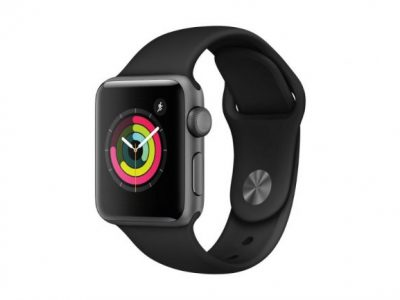 APPLE WATCH SERIES 3 38MM SPACE GREY WITH BLACK SPORT BAND