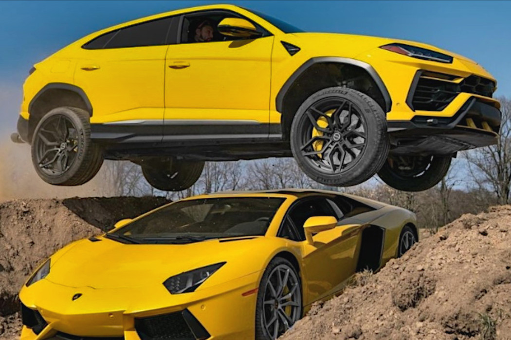 This YouTuber Jumps A Lamborghini Urus Over A Lamborghini Aventador